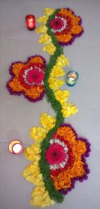 Rangoli made up of Flowers